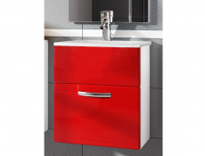 Wall Bathroom Vanity Unit Cabinet & Sink Basin 600mm Red Gloss - Coral (Coral DUM YRSA Red)