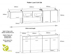 Free Standing White/Cream Gloss Kitchen Cabinets Cupboards Set 6 Units - Modern Luxe (STO-MODERN_LUX_SET-6UNITS_1.8/2.4-VAN)