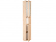 Modern Tall Wall Mounted Bathroom Cabinet Storage Unit Oak - Piano