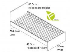 Modern Single Bed Frame Headboard Slats Underbed Storage Drawer White Gloss/Oak - Zele (S383-LOZ/90-D15-WKL90/L21-S383-SZU-DWO/BIP)