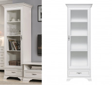 Classic White Matt Tall Glass Display Cabinet Unit with Shelves and a Slim Drawer - Idento