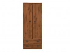 Modern Two Door Double Wardrobe 2 Drawers Hanging Rail Bedroom Furniture in Dark Oak Effect Finish - Indiana (S31-JSZF2d2s-DSU-KPL01)