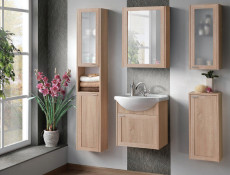Modern Wall Mounted Bathroom Vanity Sink Cabinet Storage Unit Oak - Piano