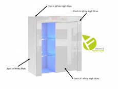 Modern White High Gloss Glass Display Cabinet Set with Blue LEDs: Tall & Compact Bookcase Units - Lily