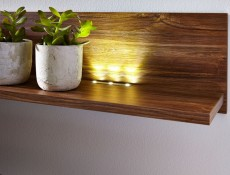 Wall Mounted Oak finish Shelf with LED Light 139cm - Gent