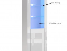 Modern White High Gloss Display Cabinet Set with RGB LED Lights: Tall & Compact Bookcases with Glass Shelving - Lily