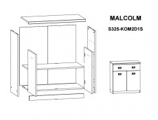 Cabinet in Oak finish and Grey - Malcolm