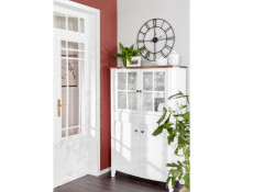 Classic 2-Door Wide Glass Display Cabinet Wood Storage Unit Drawer White Gloss/Acacia - Kalio