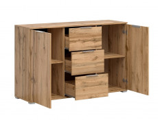 Modern Large Sideboard Dresser Cabinet Unit with Drawers Oak effect 135cm - Zele