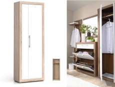 Two Door Wardrobe in White Gloss and Oak finish - Bigi