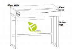Modern Compact Console Dressing Table Desk with Drawer White Gloss & Solid Wood Pine Frame - Pori