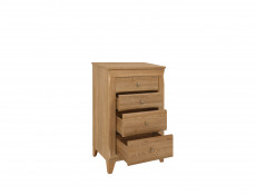 Traditional Tallboy Narrow Tall Chest of Drawers in Oak finish - Bergen
