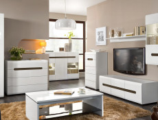 Sideboard Dresser Display Cabinet with LED Lights White Gloss / Oak finish - Azteca (KOM2W1D3S/10/15)