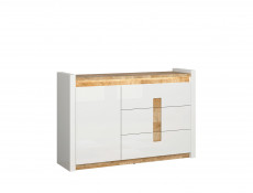 Modern White Gloss Sideboard Storage Cabinet with Drawers LED Lights & Oak finish top - Alameda