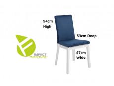 Scandinavian Oak & White Dining Room Furniture Set Extending Table & 4 Blue Velvet Chairs - Holten