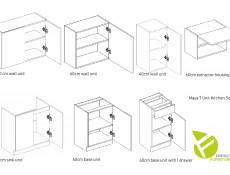 Budget Kitchen Set of 7 Cabinets Units in Sonoma Oak – Nela 2