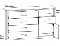 Elegant King Size Bedroom 3-Piece Set Built-in Bedside Cabinets Lighting Storage Cabinet Units Oak/Black - Kassel