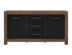 Modern Living Room Wide Sideboard Dresser Storage Cabinet 2 Door Unit with 3 Drawers Oak/Black - Balin