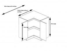 Free Standing Grey Gloss Kitchen Cabinet Corner Base Unit 90cm x 90cm L Shape 900mm - Modern Luxe (STO-MODERN_LUX-DRP-P/L-GREY-KP01)