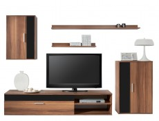 Living Room Furniture Set in Walnut Black Gloss- Barato