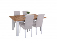 Scandinavian Dining Room Extending Dining Table White / Oak & Grey Chairs Set - Holten (HOLTEN DINING SET)