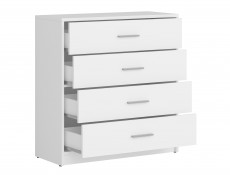 Chest of Drawers Modern Storage Unit Wenge, White or Sonoma Oak Finish- Nepo (S435-KOM4S-BI-KPL01)