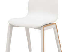 Modern White Molded Dining Chair Padded Eco Leather - Bari
