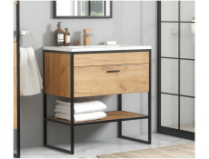 Modern Industrial Oak/Black Steel Free Standing Vanity Bathroom Cabinet Drawer Unit Ceramic Sink 80cm - Brooklyn (BROOKLYN_821+CFP-80D/LAVA8003-80)
