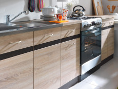 Modern Free Standing Kitchen Cabinet 800 Base Cupboard 2-Door Unit 80cm Sonoma Oak/Wenge - Junona (K22-D2D/80/82-WE/WE/DSO/DSO-KPL01)