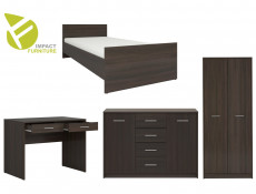 Single Bedroom Furniture Set Modern Teenager Kids Wenge, White or Sonoma Oak Finish- Nepo (NEPO-SING-SET-WENGE)