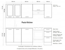 Free Standing Light Grey Kitchen Cabinets Cupboards Set 7 Units - Paula