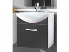 Modern Bathroom Furniture Set Grey High Gloss Wall Hung Vanity Units with Sink 550mm - Coral