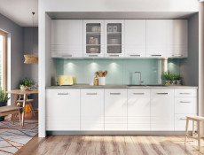 White/Light Grey Kitchen Wall Cabinet 1 Door Cupboard Unit 30cm - Paula (STO-PAULA-W30-P/L-GR/WHITE-KP01)