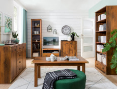 Modern Tall Bookcase Shelf Cabinet with 5 Shelving Compartments in Dark Oak Effect Finish - Indiana (S31-JREG1so/50-DSU-KPL01)