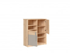 Modern Bunk Bed Set: Bed Frame, Drawer, Shelf and Bookcase Beech Effect Grey and White Gloss - Namek