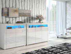 White High Gloss Sideboards Blue LED Light Set of 2 Modern Cabinets Display Units - Lily (STO-LILY3D-BI/BIP-STO-LILY2D-BI/BIP-LED-BLUE)