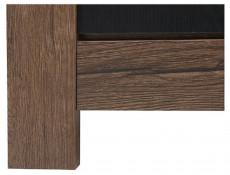 Modern Wide Glass Display Sideboard Cabinet Showcase Storage 3 Door Unit LED Oak/Black - Balin