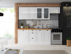 Free Standing White High Gloss Kitchen Cabinet 3 Drawer 400 Base Unit 40cm Shaker Style - Antila (HOF-ANTILA-D40_S/3-BI-BIP-KP01)
