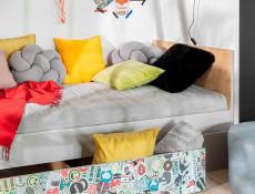 Modern Underbed Drawer on Wheels for Single Bed Frame Storage Unit White Gloss/Grey/Oak - Nandu
