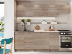 Complete Kitchen Set of 7 Cabinets Units Flat Pack in Truffle Dark Oak – Nela 2