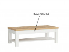 Country Cottage Rectangle Coffee Table with Shelf Storage Modern White Matt & Oak finish - Alameda