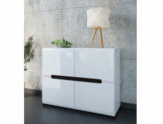 White Gloss Square Compact Sideboard Cabinet Unit with White / Black Gloss / Wenge insert - Azteca Trio