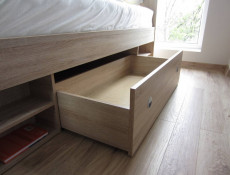 Modern Oak Finish Double Bed Frame with Storage Shelving and Drawers Sonoma Oak - Nepo