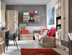 Urban Wide Wall Unit Living Room 2-Door Cabinet with Shelves 120cm Oak/Grey - Malcolm (S325-SFW2D-DAMO/SZW/DAMON-KPL01)