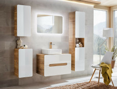 Modern Bathroom Set: Counter Top Sink Wall Vanity Cabinet with Ceramic Sink and Tall Unit 80cm White Gloss/Oak - Aruba (ARUBA_829-SET)