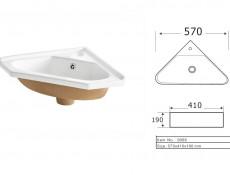 Vanity Cabinet Corner Unit Wall Mounted Bathroom with Ceramic Sink White Matt/White Gloss - Finka