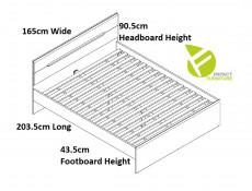 European King Size Bedroom Furniture Set: Bed Frame, Storage Units, Solid Wood Slats in Light Oak Effect Finish - Elpasso (S314-ELPASSO_BEDROOM_SET_1-DSAJ/DWB)