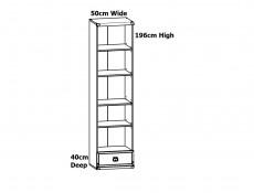 Modern Tall 4 Shelf  Bookcase Cabinet Slim Shelving Unit with 1 Drawer in Dark Oak Effect Finish - Indiana (S31-JREG1so/50-DSU-KPL01)