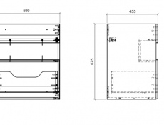 Modern Mint Grey Wall Vanity Cabinet 600 Unit with Designer LED Light 60cm Ceramic Sink - Bahama