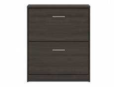 Slim Shoe Cabinet Hallway Entrance Hall Two Pull Down Storage Compartments in Wenge Dark Wood Effect Finish - Nepo (S435-SFB2K2-WE-KPL01)